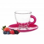 Tasses et sous tasses en verre – Spécial Expresso – Couleur Magenta - Arts de la Table -Sables et Reflets