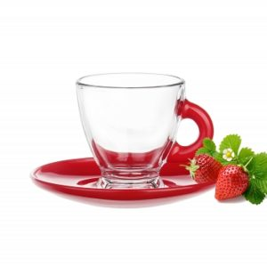 Tasses et sous tasses en verre – Spécial Expresso – Couleur Rouge - Arts de la Table - Sables et Reflets