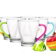 6 Tasses en verre Café , Café Latte, Cappuccino, Mix Color 6 Couleurs 200 ml