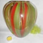 Vase Boule ligne orange et vert 35.90 €