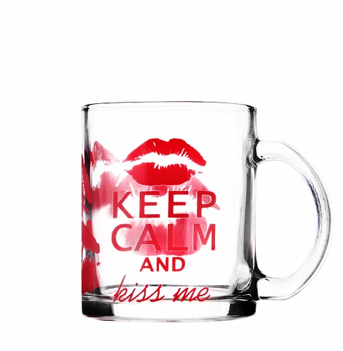 Tasse en verre - Keep calm and kiss me - Arts de la Table - Sables et Reflets