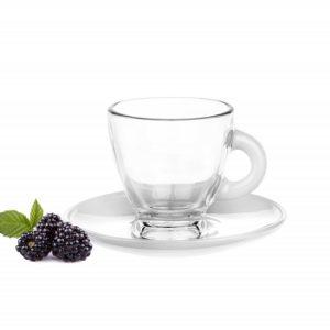Tasses et sous tasses en verre – Spécial Expresso – Couleur Blanche - Arts de la Table - Sables et Reflets