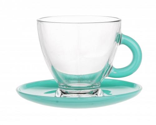 Tasses et sous tasses en verre - Spécial Expresso - Couleur Turquoise - Arts de la Table - Sables et Reflets