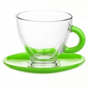 Tasses et sous tasses en verre - Spécial Expresso - Couleur Verte - Arts de la Table - Sables et Reflets