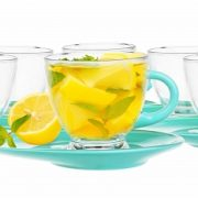 Tasses et sous tasses en verres – Couleur Turquoise - Arts de la Table - Sables et Reflets