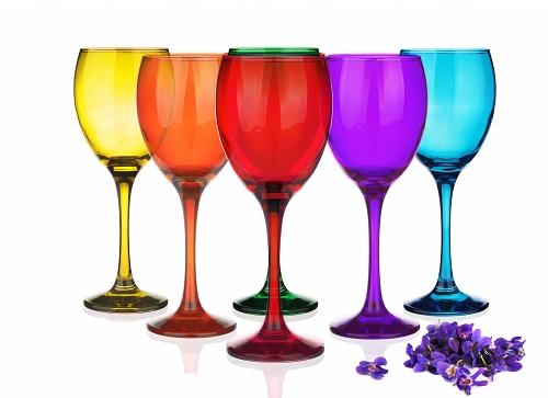 sables & reflets verres à pied a vin mix couleur