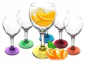 6 Verres à pied Multicolor 200 ml – Verre à vin rouge, à vin blanc, verre à eau