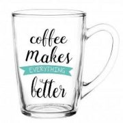 "6 Mugs en verre, Tasses Cappuccino, Café Latte / Collection ""Coffee makes me better"""