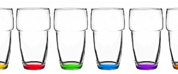 6 verres à Jus, Sirop et Soda – Fond 6 couleurs – 300 ml