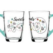 """Set de 4 Mugs en verre anse Turquoise Collection """" Sweet & Treats"""" de Sables & Reflets"""
