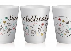 "Set de 4 Mugs en Céramique anse Rose, Collection "" Sweets & Treats "" 250 ml / Sables & Reflets"