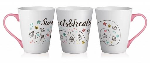 "Set de 4 Mugs en Céramique anse Rose, Collection "" Sweets & Treats "" 250 ml / Sables & Reflets"