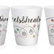 "Set de 4 Mugs en Céramique anse Turquoise "" Sweets & Treats "" 300 ml / Sables & Reflets"