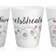 "Set de 4 Mugs en Céramique anse Turquoise "" Sweets & Treats "" 300 ml / Sables & Reflets"