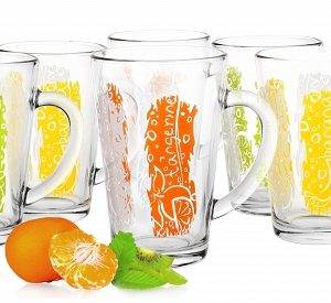 6 Mugs en verre, Tasses Cappuccino, Café Latte Collection / Couleurs et Fruits / Sables & Reflets
