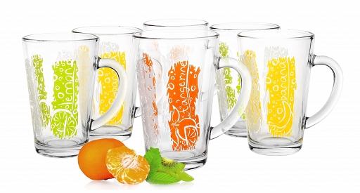 6 Mugs en verre, Tasses Cappuccino, Café Latte Collection / Couleurs et Fruits / Sables & Reflets
