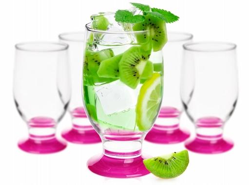 6 Verres à eau, Soda et à jus / Pied Couleur MAGENTA / 290 ml