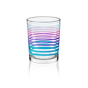6 Verres à jus - verres à eau - Verres à soda - Motif Ligne Bleu et violet - 250 ml