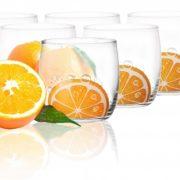 6 Verres Gobelets à eau, Soda et à jus / Collection Orange / 250 ml / Sables & Reflets