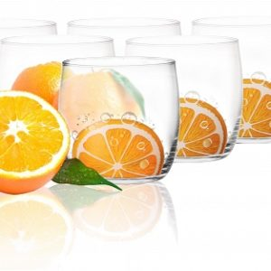 6 Verres Gobelets à eau, Soda et à jus / Collection Orange / 250 ml / Sables & Reflets
