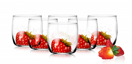 6 Verres Gobelets à eau, Soda et à jus / Collection Fraise / 250 ml / Sables & Reflets