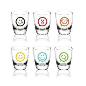 Shooter, Verres à Shot - Vodka, Tequila - Lot de 6 - Emoticônes Mix Couleurs Idée Cadeau