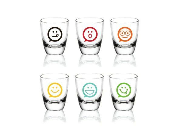 Shooter, Verres à Shot - Vodka, Tequila - Lot de 6 - Emoticônes Mix Couleurs Idée Cadeau