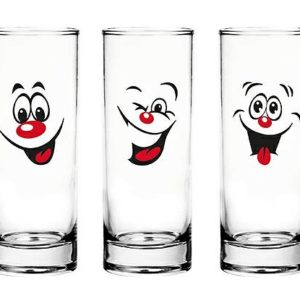 6 Verres et Gobelets à Eau, Jus, Soda, Cocktail/Emoticônes Smiley / 300 ML