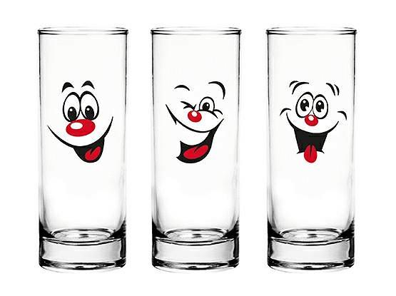 6 Verres et Gobelets à Eau, Jus, Soda, Cocktail/Emoticônes Smiley / 300 ML