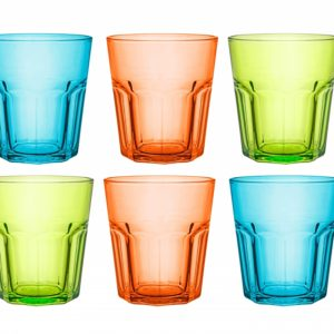Verres à Soda, Cocktail, Jus de Fruit, 270 ML (Lot de 6) / Verres Trempé Colorés
