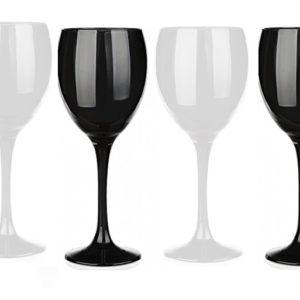 6 Verres à vin teintés Noir et Blanc à vin Rouge, à vin Blanc, Verre à Eau/Spécial Dégustation Aveugle/300 ML